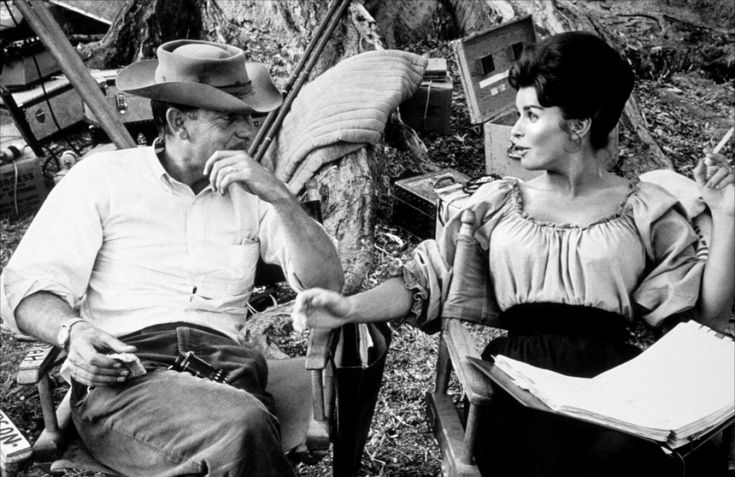 Sam Peckinpah and Senta Berger on the set of Major Dundee