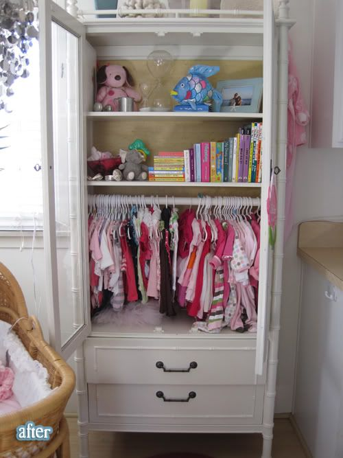 a hutch turned into a baby closet plus a nursery in a tiny
