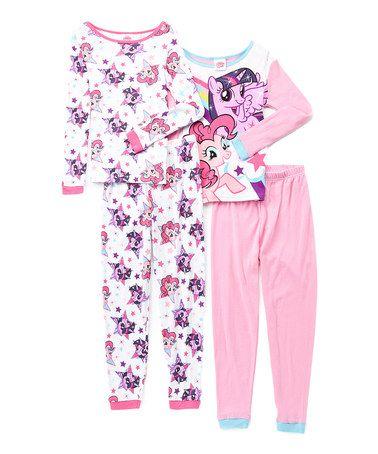 Look at this #zulilyfind! My Little Pony Pink Four-Piece Pajama Set - Girls…