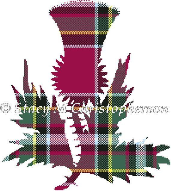Scottish tartan Thistle cross stitch pattern