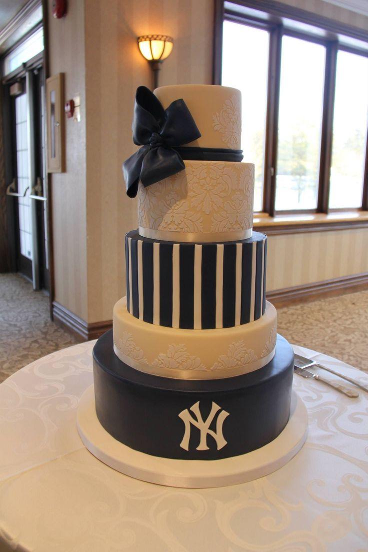 Surprise his & hers New York Yankee wedding cake! My groom loved it!