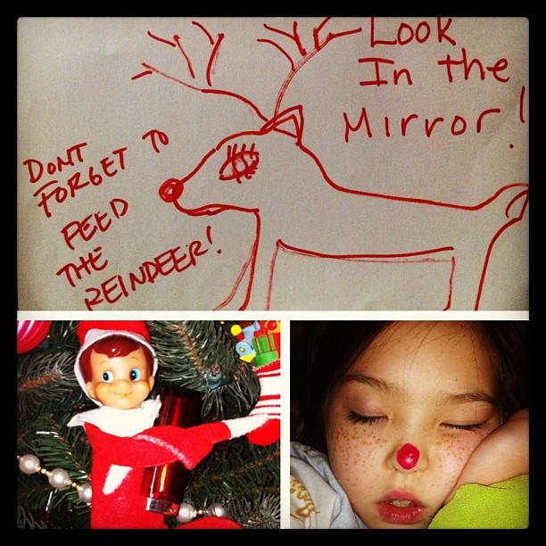 Our Elf on the Shelf Lucas' last day. he got into the red lipstick and caught red handed.....left reindeer food and told my daughter to look in the mirror....prankster lol  #createdbyShannon