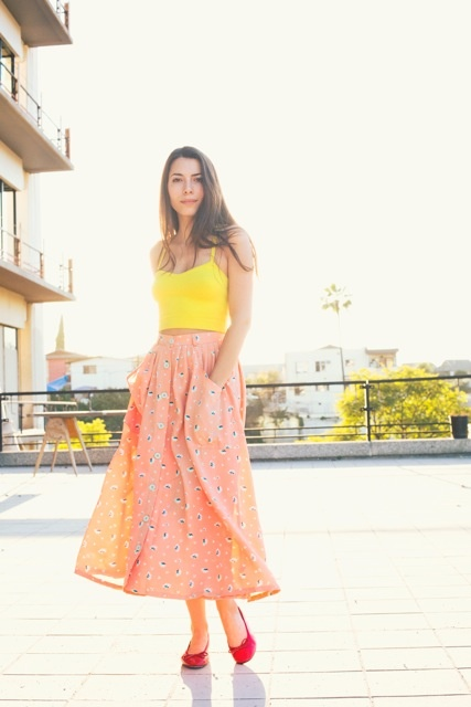 Molly is wearing the Button-Up Long Skirt for Spring by #AmericanApparel  #aamodels #Molly #spring #skirts