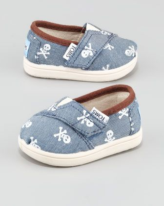Tiny Skull-Print Shoe by TOMS at Neiman Marcus.