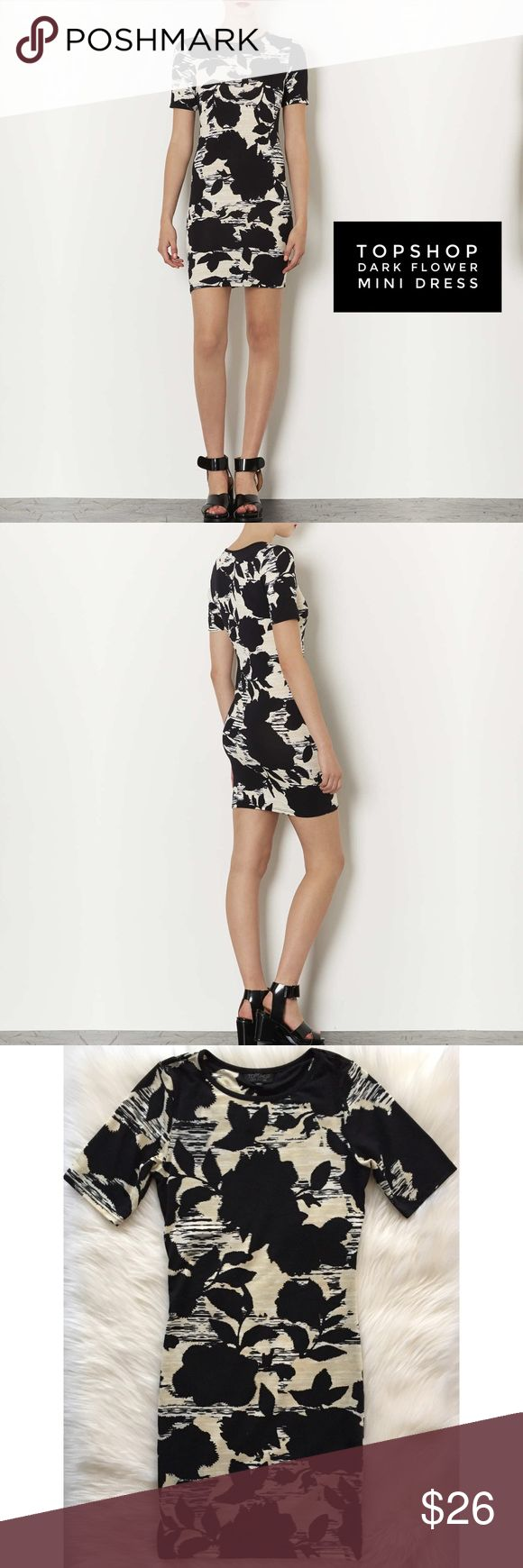 """Topshop // Dark Flower Mini Dress • TOPSHOP • {Dark Flower Mini Dress}  DETAILS // Dark flower print jersey bodycon dress with t-shirt sleeves and a scoop neckline. Easily dressed up or down and perfect for a variety of wardrobe styles  SIZE // US 4, EUR 36, UK 8 EUC // Gently Worn, No Flaws MATERIALS // 91% Polyester, 9% Elastane  MEASUREMENTS // Flat, Unstretched Length: 32"""" Hem Width: 13.5"""" Chest Width: 13.75"""" Sleeve Length: 7"""" Arm Opening: 9"""" Topshop Dresses Mini"""