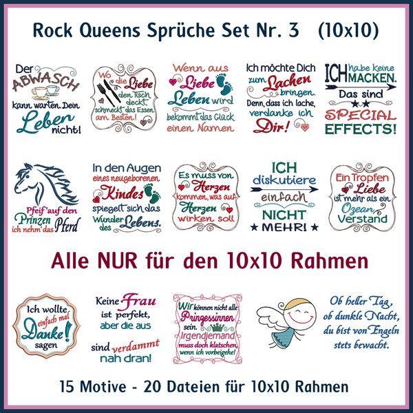 Stickmuster - Stickdatei Rock Queens Sprüche Set 03 - 10x10 - ein Designerstück von Rock-Queen bei DaWanda
