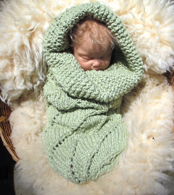 Knitted baby bunting - photo#18