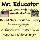 "For the next few hours of 2012,  buy 3 Social Studies products get 1 free!!    Welcome to the Mr Educator Social Studies Store,  Where everything Social Studies related is ""Student-centered,  content-heavy, engaging, and demanding!"""