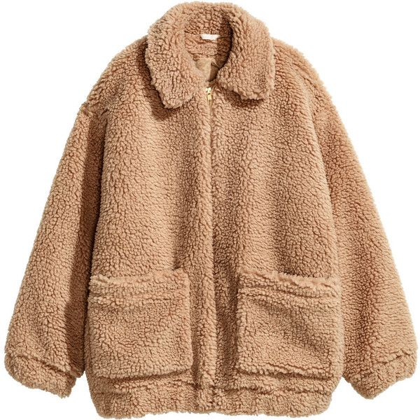 H&M Short Pile Coat $49.99 ($50) ❤ liked on Polyvore featuring outerwear, coats, jackets, tops, beige coat, collar coat, h&m coats, fur-lined coats and short coat