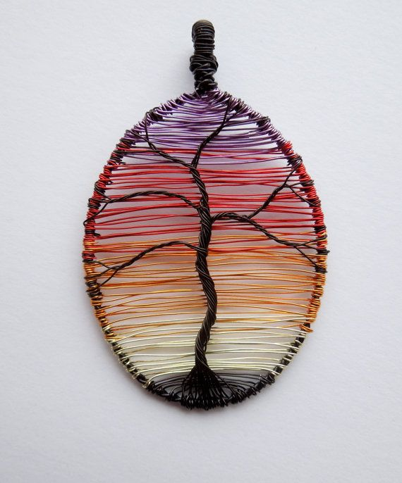 Sunset Tree wire wrapped pendant. (I want to make this in large scale to use in a wall hanging....)