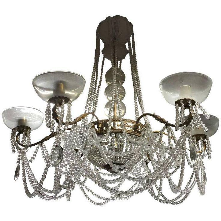 Italian Six Arms Gilt Bronze and Glass Chandelier / Lampadario sei luci con struttura bronzo / lampadario con perle di vetro di Sanmarcoartedesign su Etsy