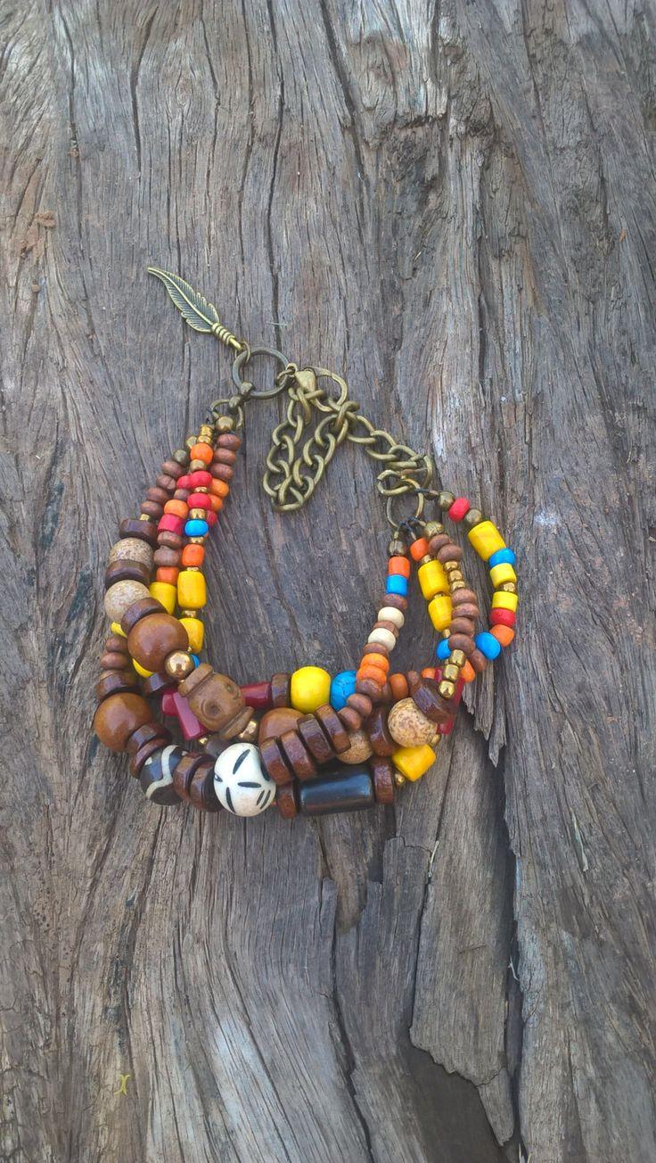 African bone bead bracelet, Tribal beaded bracelet, Multi strand bracelet, Bohemian bracelets by AhyokaByBernice on Etsy