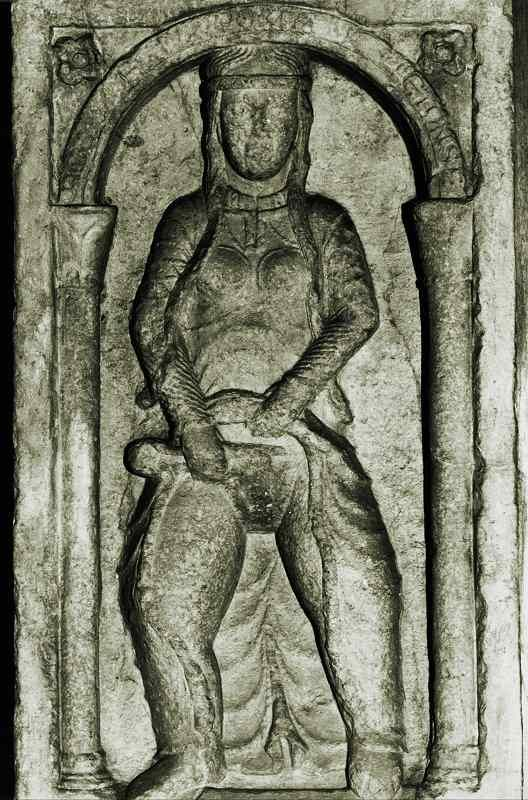 Odd medieval bas-relief (12th c. CE) which once was in the destroyed Tosa Gate of Milan, depicting a woman who shears her pubic hair. According to legend, it represents with scorn the wife of Emperor Frederick Barbarossa (who had razed Milan).