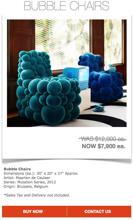 Bubble Chairs $7900 ea. (Sales Tax and Delivery not Included)  Contact designer@marthaangus.com for more details!