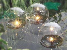 Pond Lighting Product | Set Of Glass Globe Floating Pond Lights