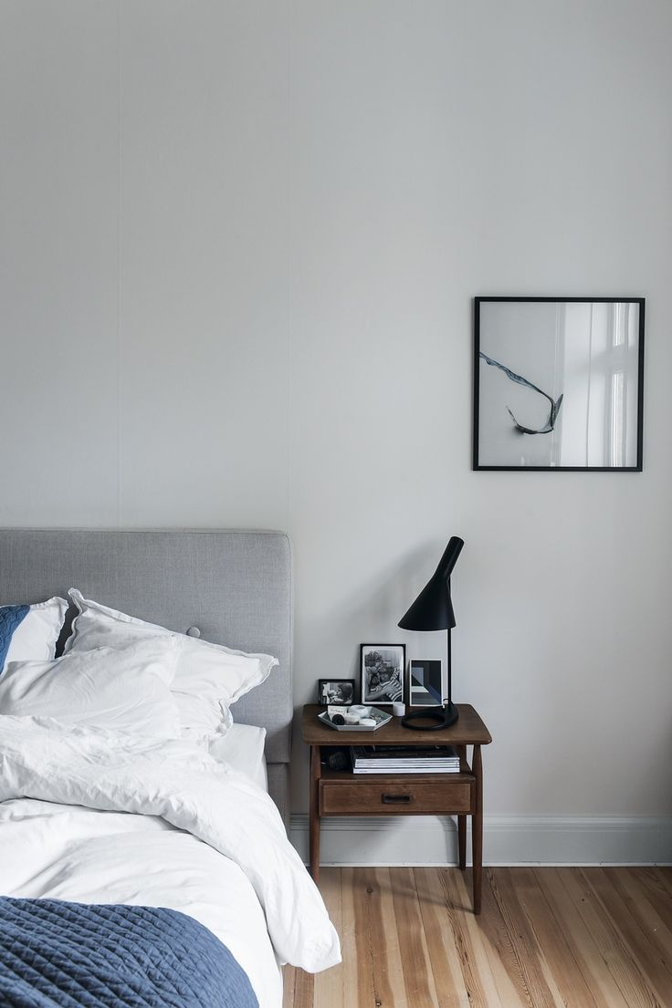 352 best scandinavian designed bedrooms images on pinterest scandinavian and simple bedroom featuring a table lamp designed by arne jacobsen for louis poulsen