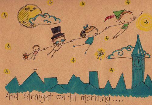 cute illustration: Till Mornings, Art Illustrations, Peter O'Tool, Disney 3, Google Search, Peterpan Secondstar, Flying Away, Cute Illustrations, Peter Pan