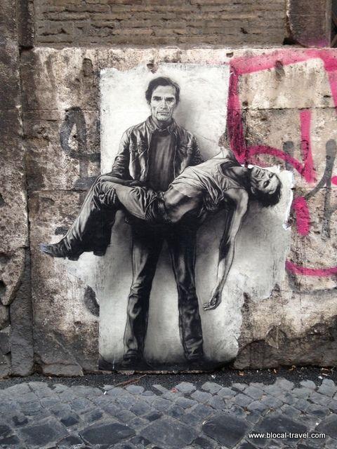 Pasolini Pieta, Rome. dans le film Accatone, Franco Citti se lance du pont Saint-Ange à Rome. L'image a durablement marqué Ernest Pignon Ernest, en raison des anges du Bernin qui encadrent un tel plongeon. Sur l'appui du pont, en souvenir de la scène, Ernest Pignon s'était fixé comme tâche de disposer sa représentation du cinéaste portant sa propre dépouille