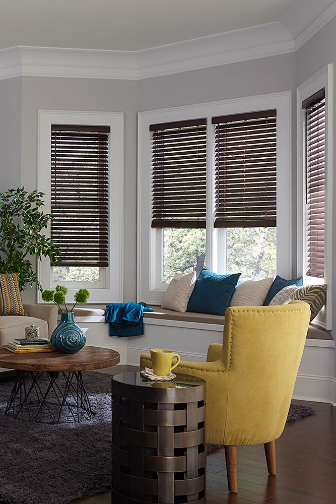 The Ultimate Guide To Blinds For Bay Windows Blinds Com Living Room Blinds Wooden Blinds Faux Wood Blinds #small #living #room #with #bay #window