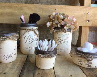 Cosmetic Organization, Mason Jar Set, Flower Vase, Shabby Chic, Rustic Decor, Distressed, Makeup Storage, Off White Vanity Set, Piggy Bank