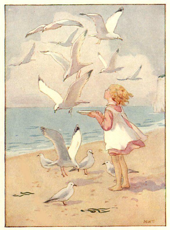 Margaret W. Tarrant (1888 -1959, English) vintage postcard - Seagulls