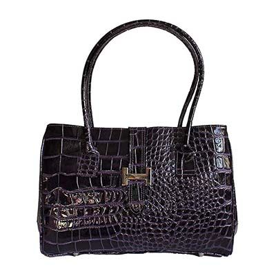 H-Lock Italian Purple Patent Croc Leather Shoulder Bag - Down to £49.99 from £59.99