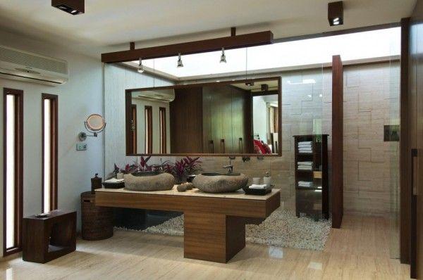 Contemporary, spa-looking bathroom