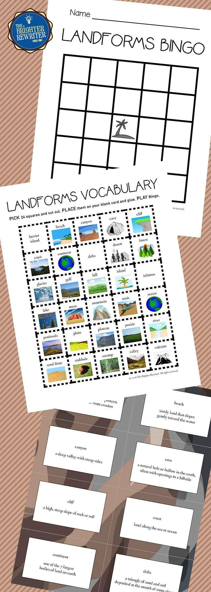 Workbooks landform matching worksheets : 256 best Landforms images on Pinterest | Maps, 6th grade science ...