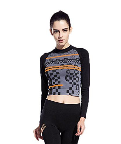 JAST Women Flower Pattern Stretchy Long Sleeve Yoga Skin Sweatshirt Workout Sports Fast Dry Run Jersey Tops Winter ** Details can be found by clicking on the image.