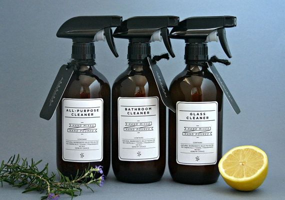 Amber glass spray bottles. DIY cleaning set with white designer re-usable label decals #cleaning