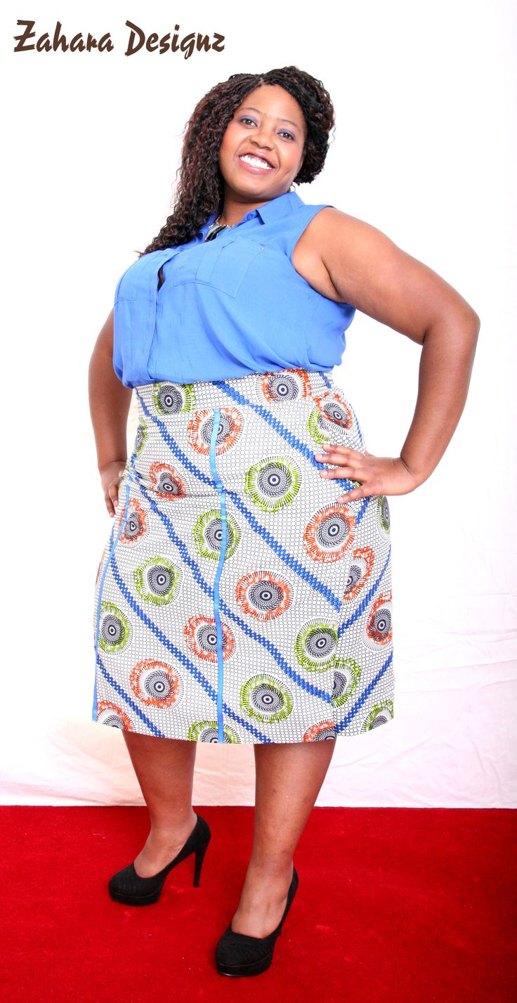 African Print Pencil Skirt, suitable for work or church.
