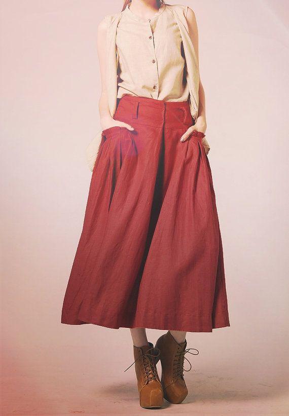 Maxi gonna di lino in tasca rosso / grande gonna di camelliatune