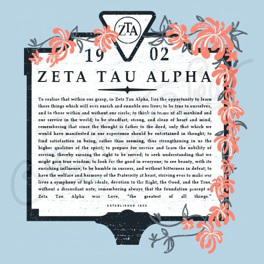 Sorority Recruitment Zeta Tau Alpha Creed Floral South By Sea