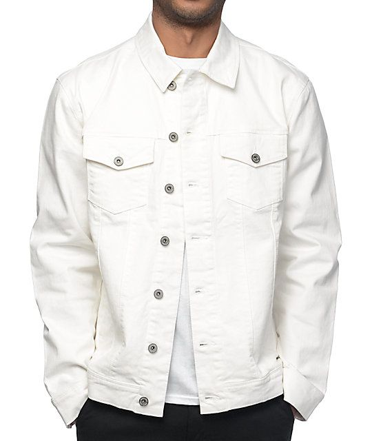 Ninth Hall brings you all the style you've been looking for with the Painted off white denim jacket. This denim jacket features a button up placket, dual chest pockets and button adjustable sleeve cuffs and bottom hem. Grab this denim jacket from Ninth Ha