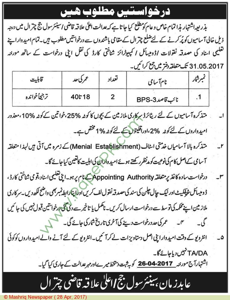 District & Session Court Chitral Jobs