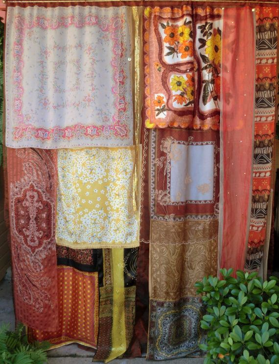 vintage scarves sewn into curtain: Scarfs Curtains, Boho Living Rooms Ideas Diy, Vintage Scarf, Handmade Gypsy, Hippie Style, Gypsy Curtains, Curtains Ideas, Bohemian Style, Bohemian Gypsy