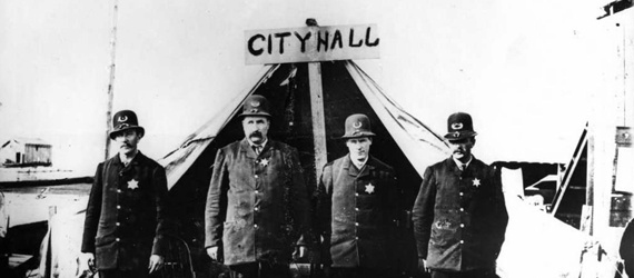 H. T. Devine, 1886, Vancouver Police Department in front of City Hall (tent) after the fire