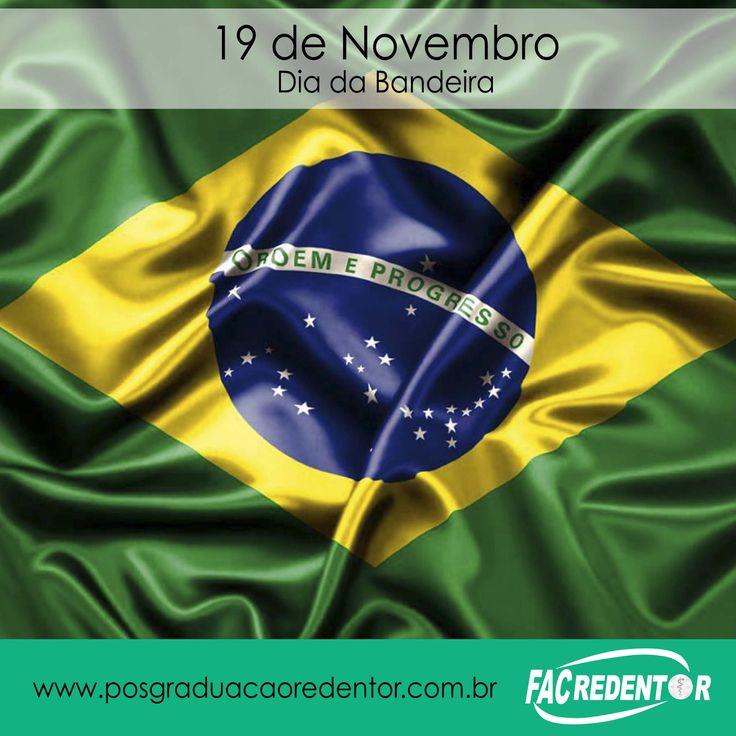 #diadabandeira #pósgraduaçãoredentor #entrenogrupo Hoje comemoramos o Dia da Bandeira do Brasil, a data passou a fazer parte da história do país após a Proclamação da República, no ano de 1889. Com o fim do período Imperial (1822-1889), a bandeira desenhada por Jean Baptiste Debret, que representava o império, foi substituída pelo desenho de Décio Vilares.