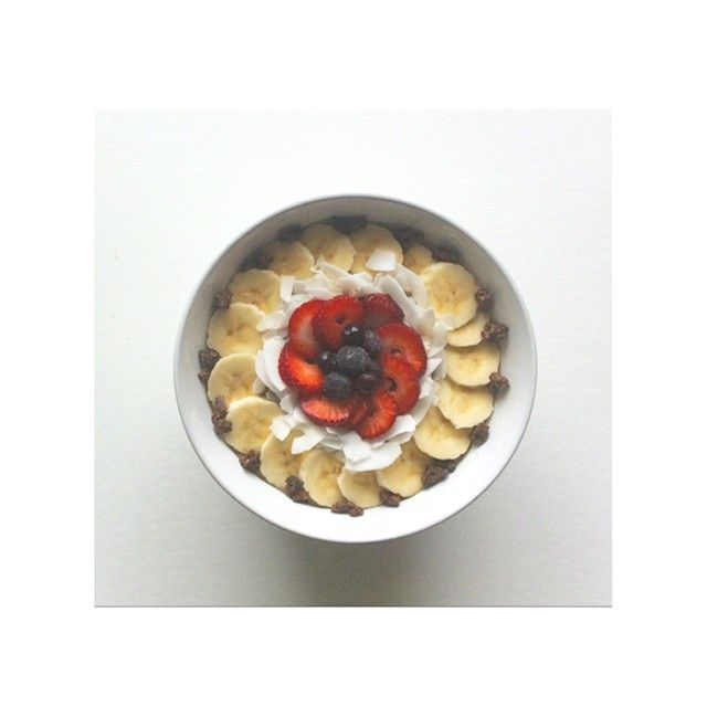 Banana coconut chia pudding with berries and cacao nibs  Healthy clean organic wholesome food