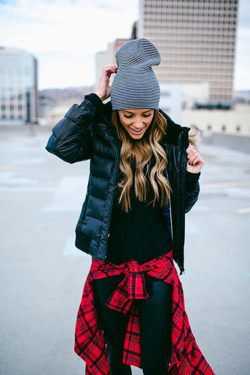 Shop this look on Lookastic:  https://lookastic.com/women/looks/puffer-jacket-zip-sweater-dress-shirt/14454  — White and Navy Horizontal Striped Beanie  — Black Puffer Jacket  — Black Zip Sweater  — Red Plaid Dress Shirt  — Black Leather Skinny Jeans