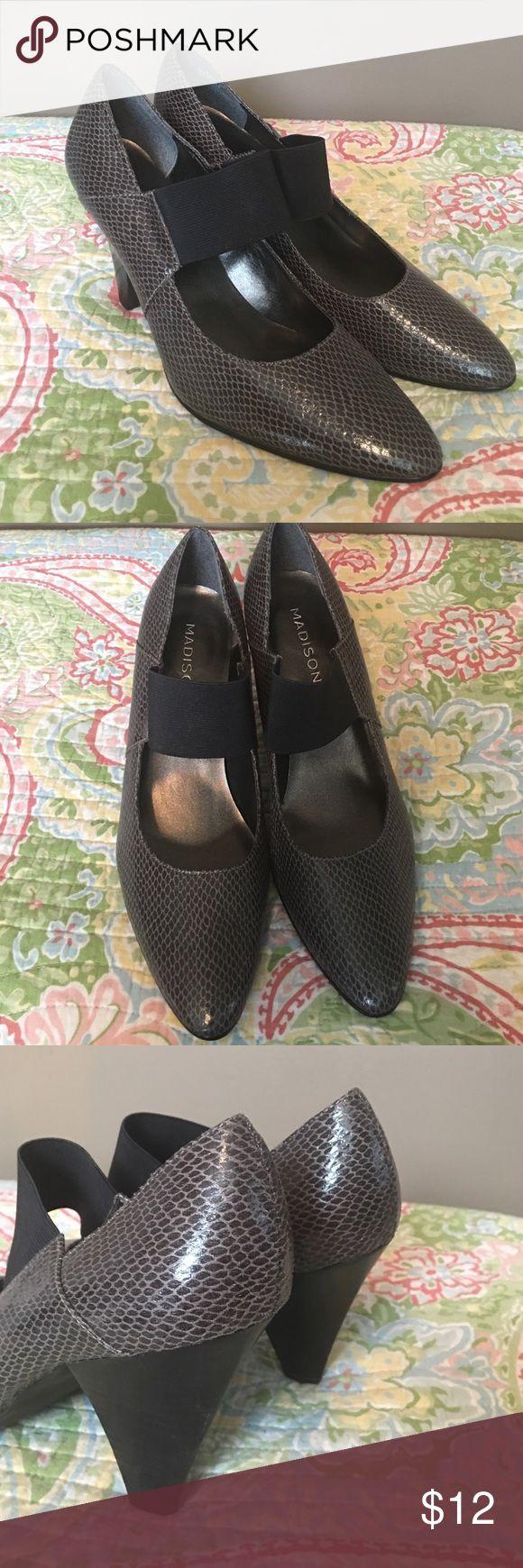 "Madison gray pumps. EUC. Sz 8.5 Beautiful gray pumps. Sz 8.5. EUC. 3.5"" heel. Madison Shoes Heels"