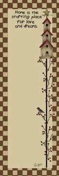 Home Is The Place Birdhouses Star Checked Paper Magnetic Notepad Country Primitive Kitchen Decor