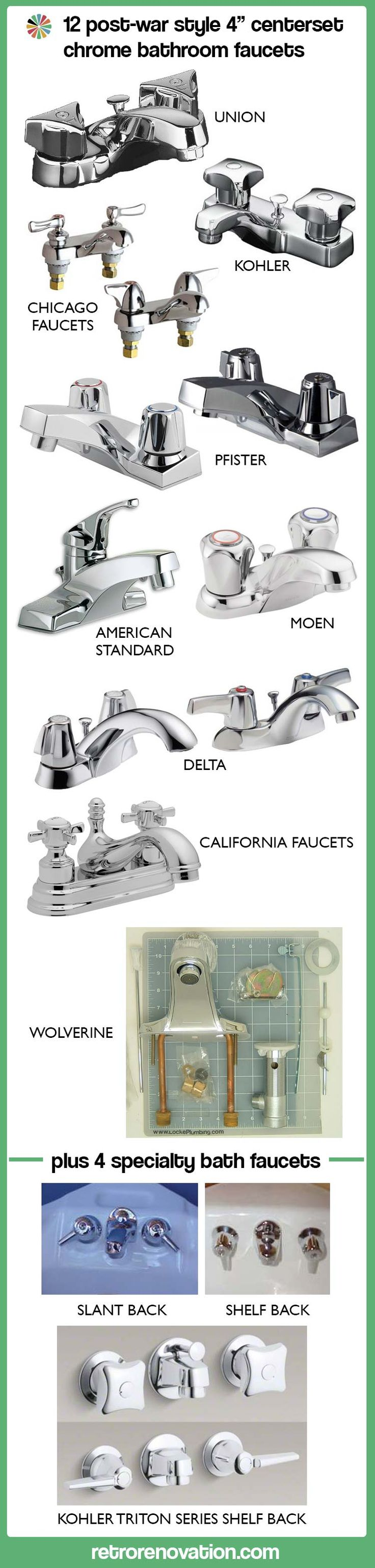 """12 Post-War Style 4"""" Centerset Chrome Bathroom Faucet options from Retro Renovations."""