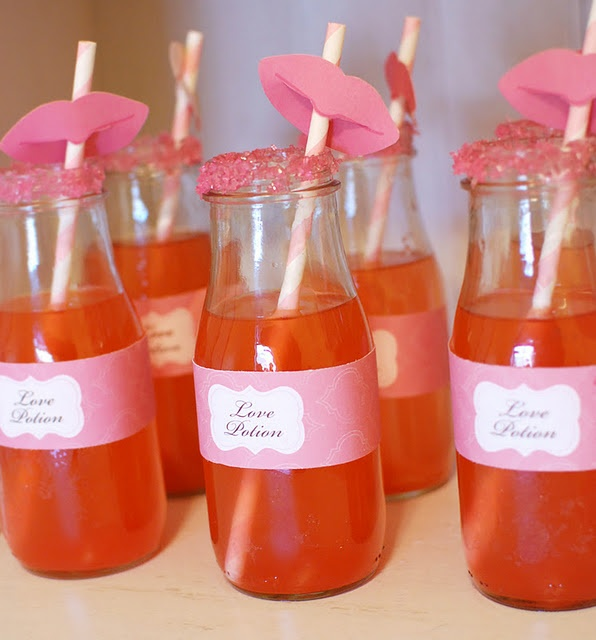 """Another idea for the glass bottles! I could label capri suns as """"magic love potion"""" for the preK class valentines. :) put lips on girls drinks, mustaches on boys drinks"""