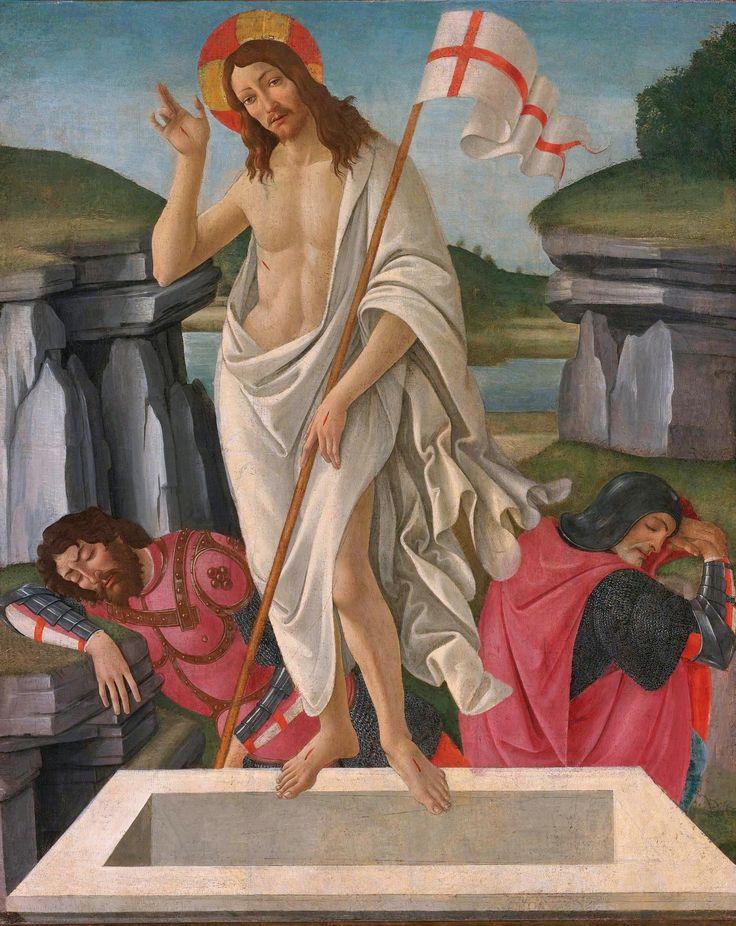 The Resurrection (Sandro Botticelli - ca. 1490)   Tempera on panel. Beaverbrook Art Gallery, Fredericton, NB., Canada.  Resource The Athenaeum.