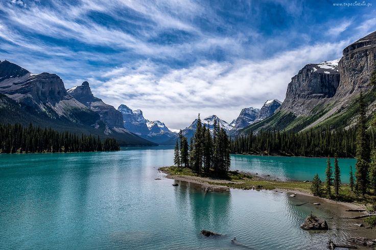 Jezioro, Góry, Drzewa, Niebo
