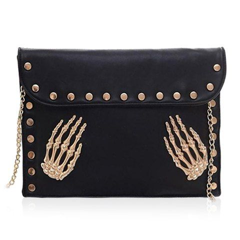 Punk Women's Shoulder Bag With Rivets and Chain Design