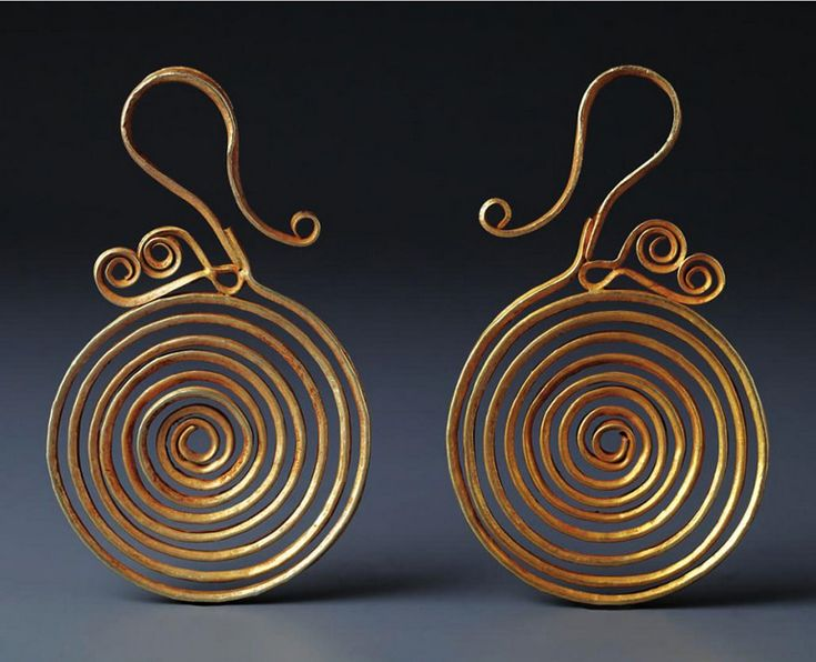 Indonesia ~ South Nias | Spiral ear ornaments; gold | 19th century || Source: 'Gold Jewellery of the Indonesian Archipelago'; page 414