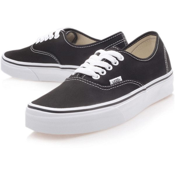 Vans Black Authentic Classic Canvas Skate Shoes ($65) ❤ liked on Polyvore featuring men's fashion, men's shoes, men's sneakers, shoes, sneakers, vans, mens black sneakers, mens black skate shoes, mens canvas shoes and mens rubber sole shoes