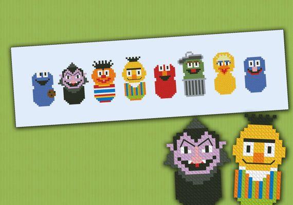 Esta es una parodia, un patrón de puntada cruzada inspiradora del TV show Sesame Street, con: Cookie Monster, Count, Ernie, Bert, Elmo, Oscar el